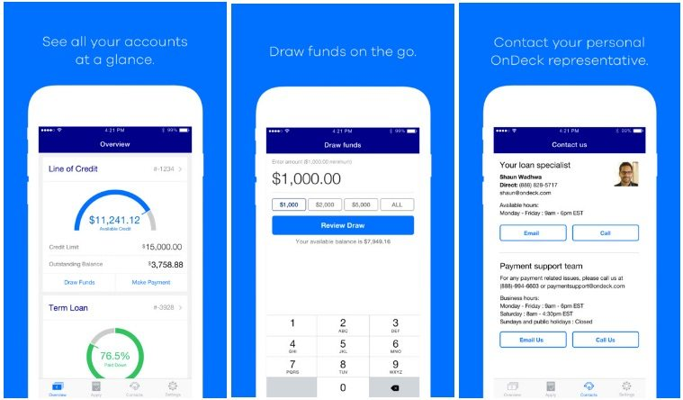 OnDeck mobile app features