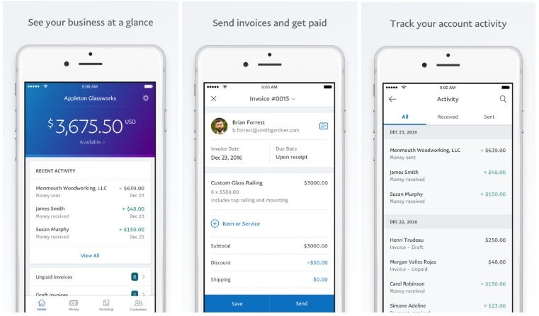 PayPal Mobile app features