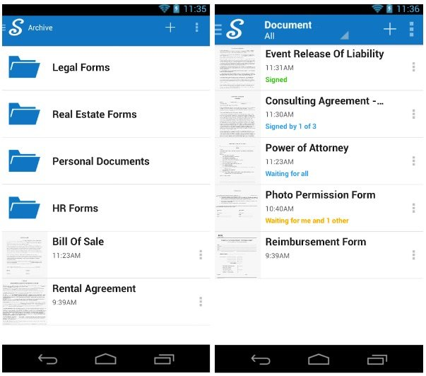 electronic signature app article- signnow iphone screenshot