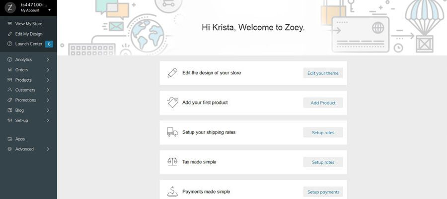 Ecommerce platforms review - Zoey setup