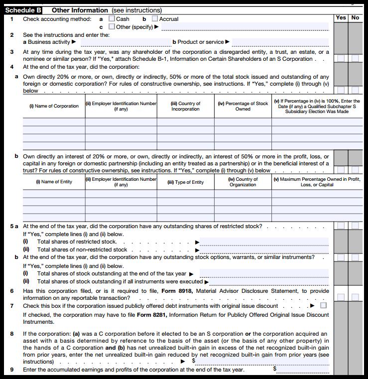 Form 1120S Schedule B