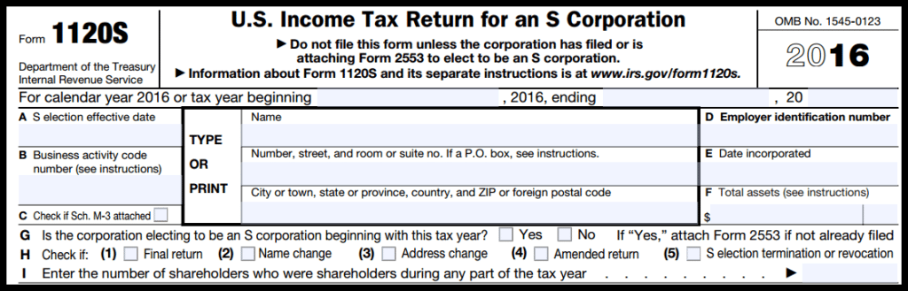 Form 1120S General Info Section