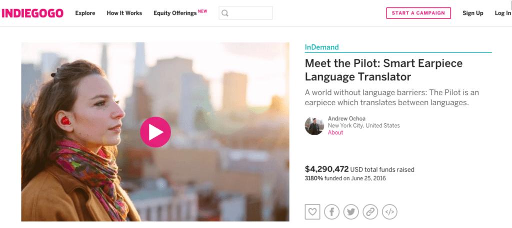 best crowdfunding site indiegogo example