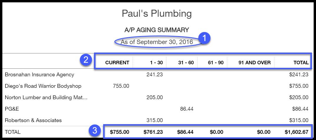 Accounts Payable Aging Summary Report