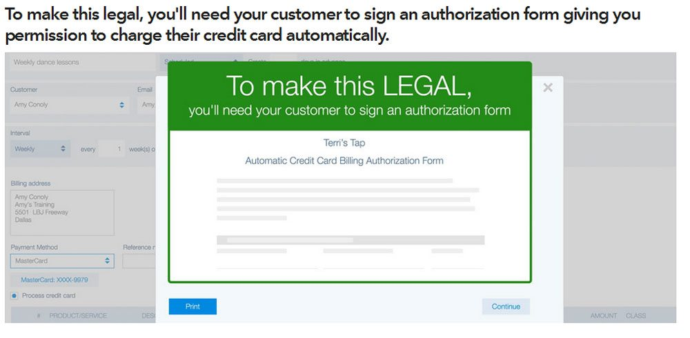 Automatic recurring payments with QuickBooks - authorization