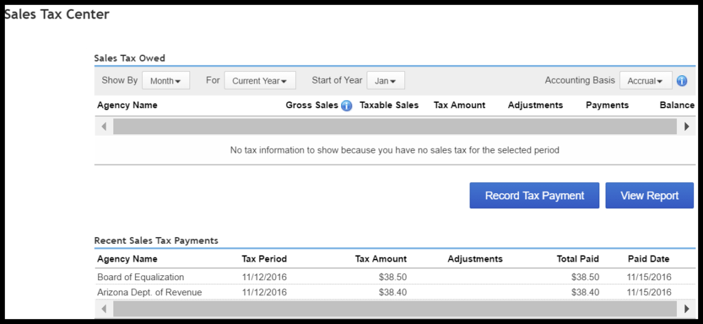 sales and use tax center in quickbooks