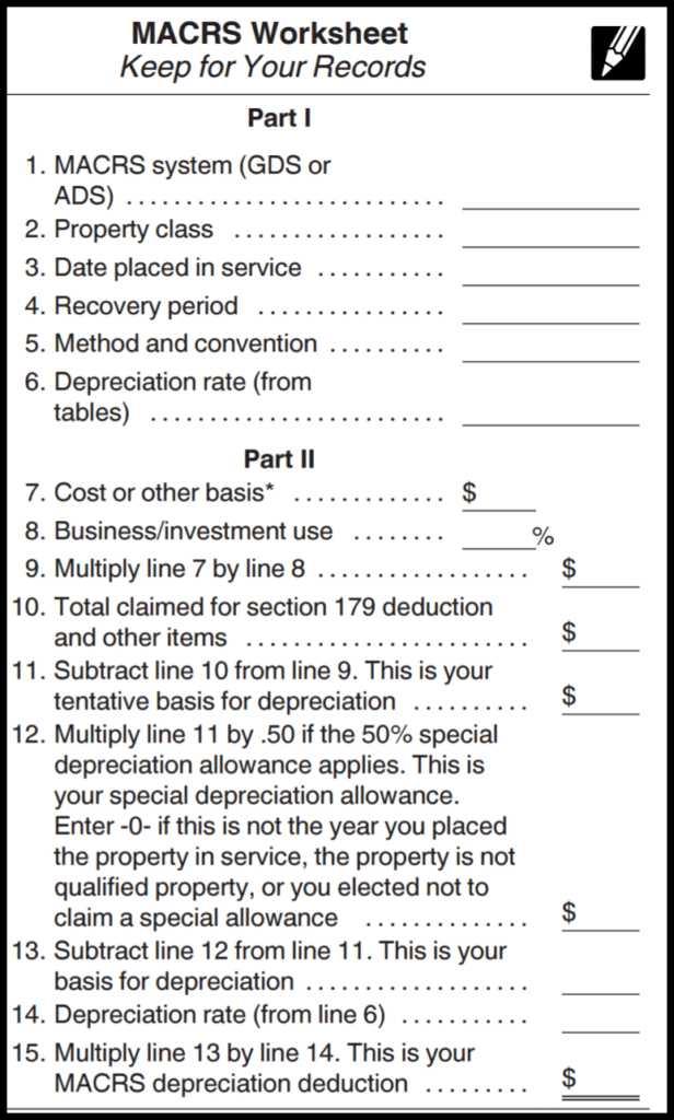 MACRS depreciation calculator worksheet