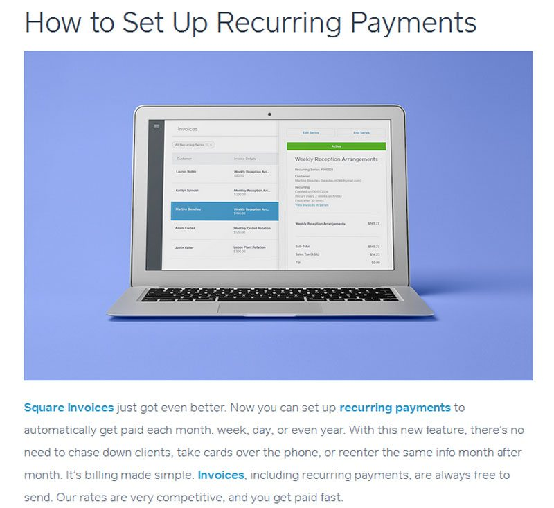 Automatic recurring payments with Square