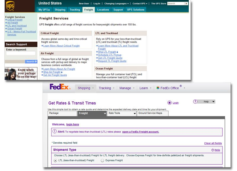 How to ship LTL freight - UPS and FedEx