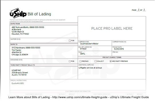 How to get a freight quote - UShip bill of lading BOL