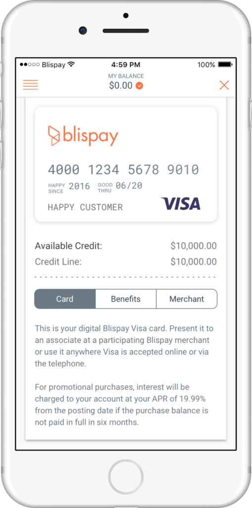 Blispay customer financing temporary visa card
