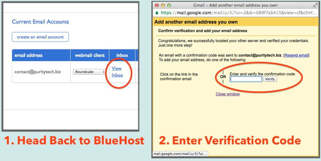 create email - bluehost verification