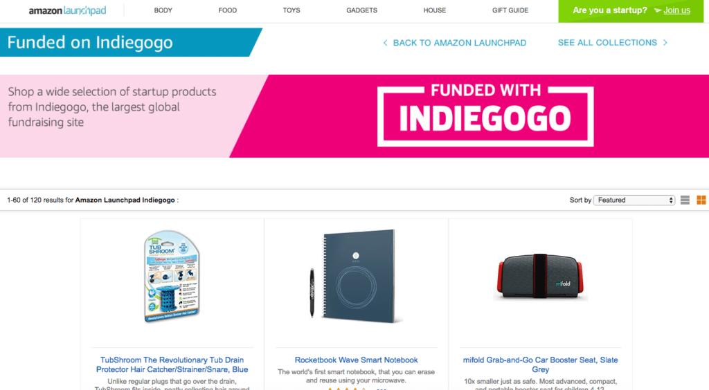 best crowdfunding site indiegogo on amazon