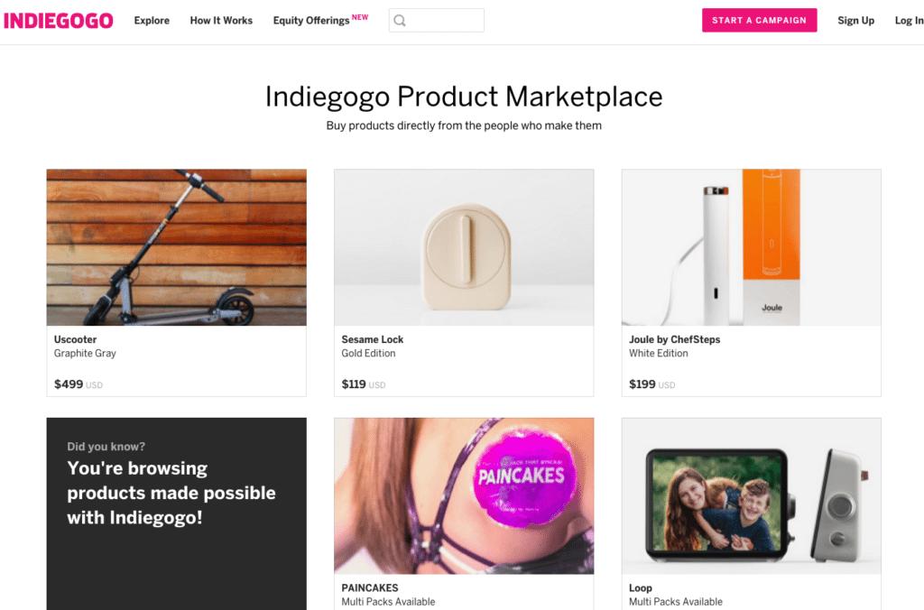 best crowdfunding site indiegogo marketplace