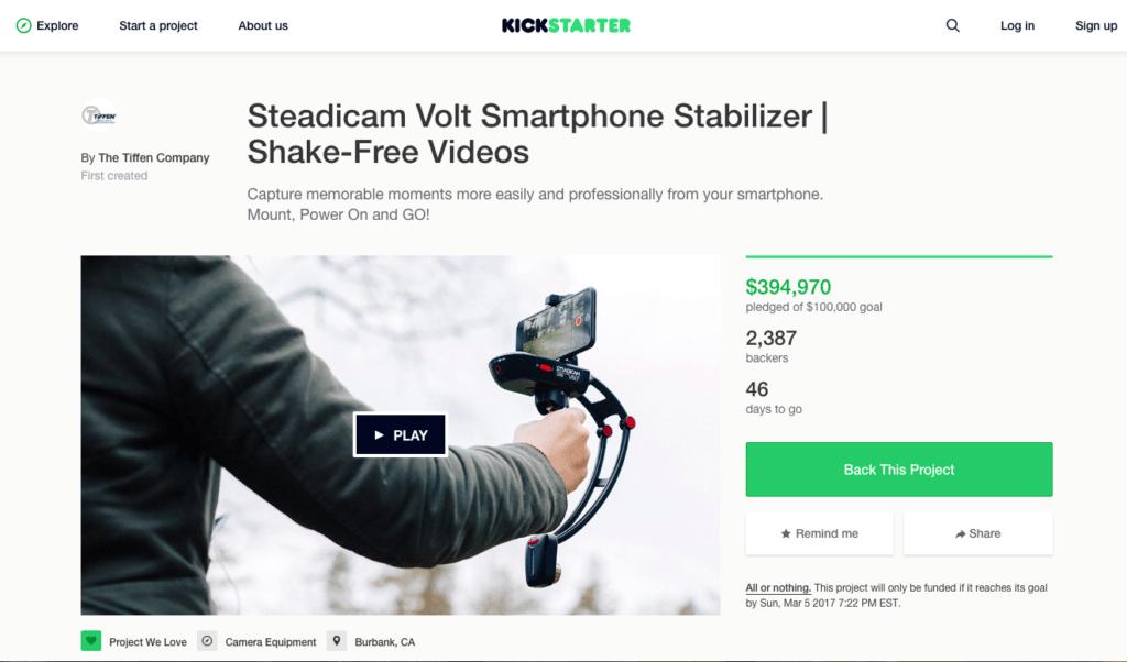 best crowdfunding site kickstarter example
