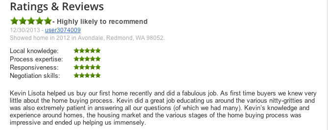 sample realtor review