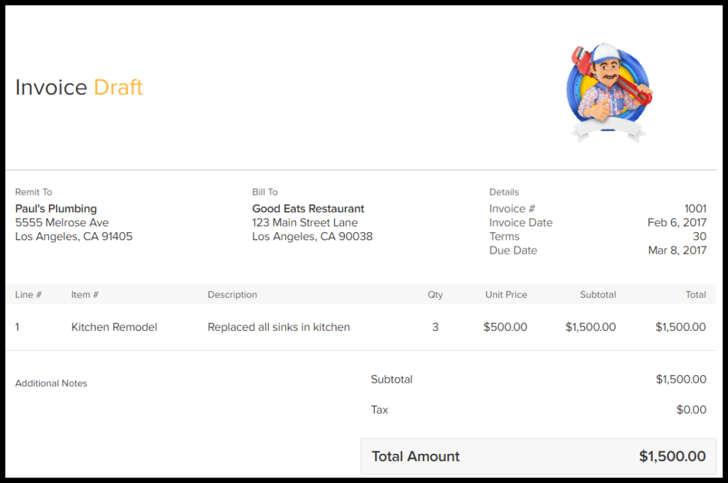 Sample Viewpost Invoice
