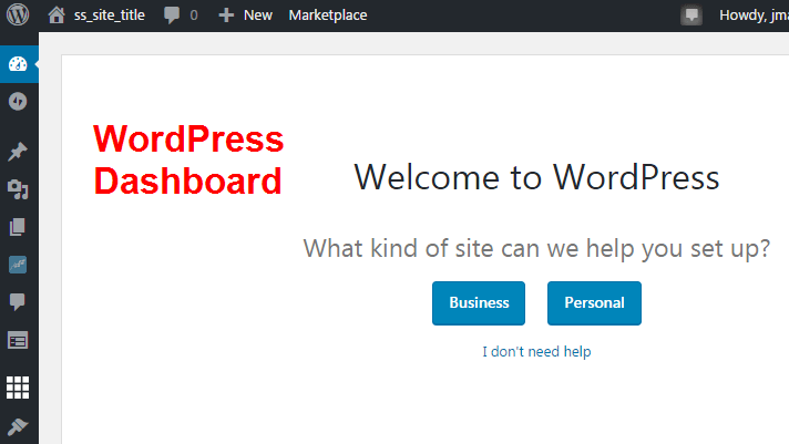 how to start a blog wordpress dashboard