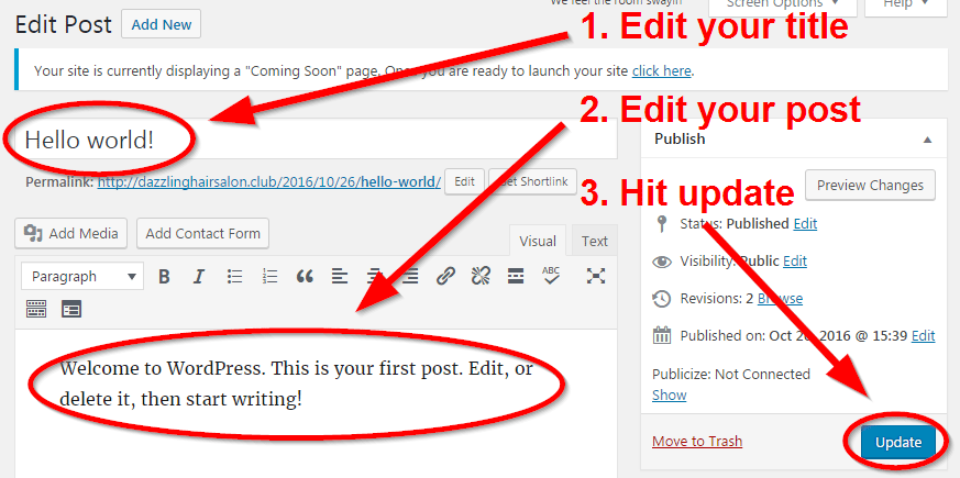 how to start a blog edit post