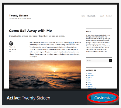 how to start a blog customize wordpress theme