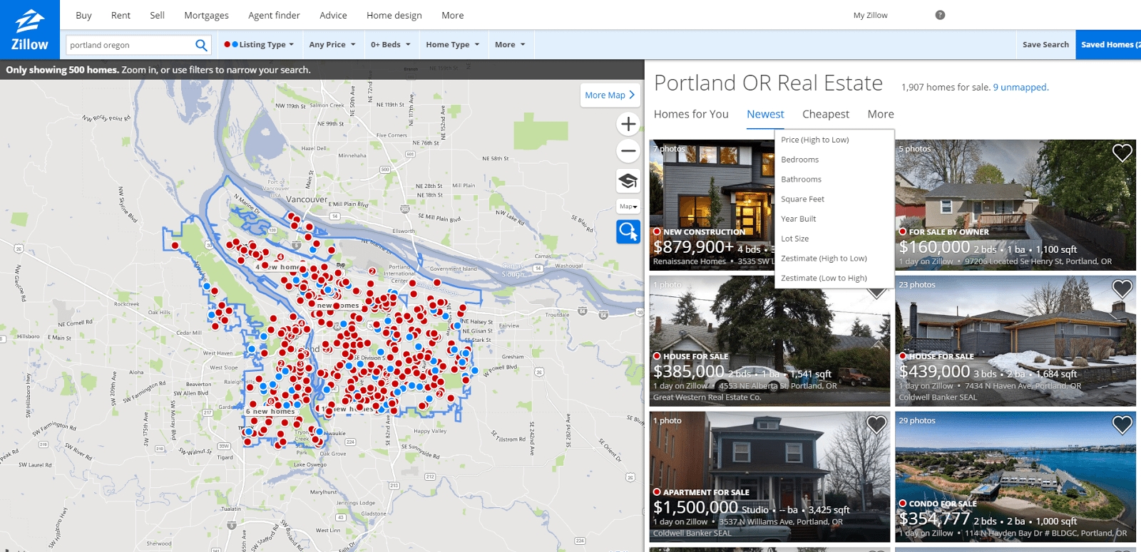 zillow interface