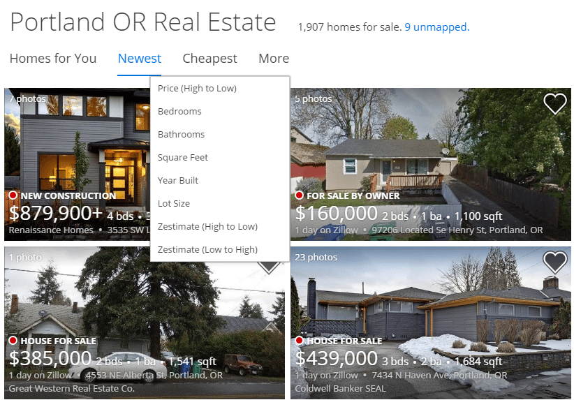 zillow listing example