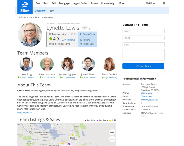 zillow team example