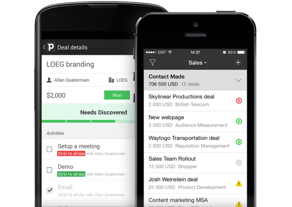 Mobile CRM - PipeDrive on Smartphone
