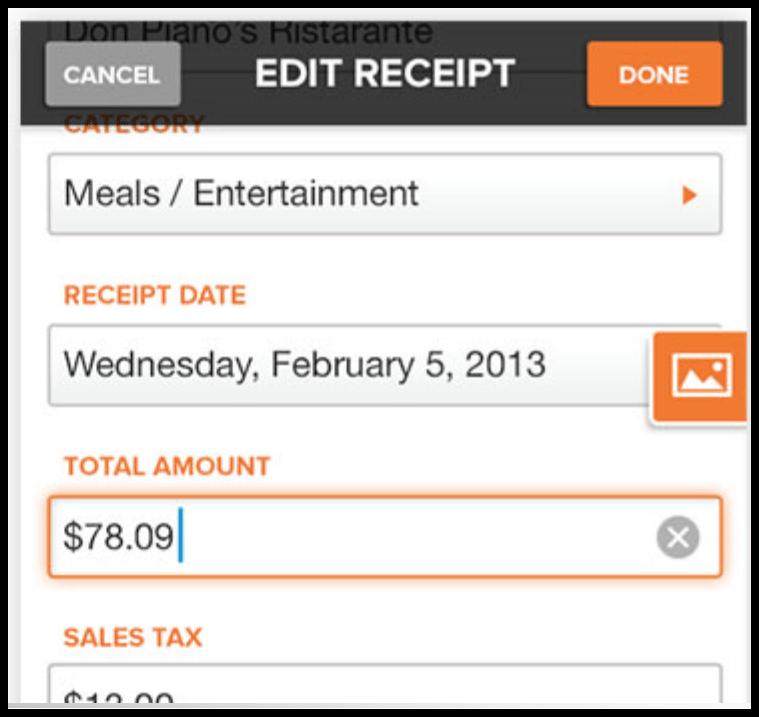 neat receipt app edit menu