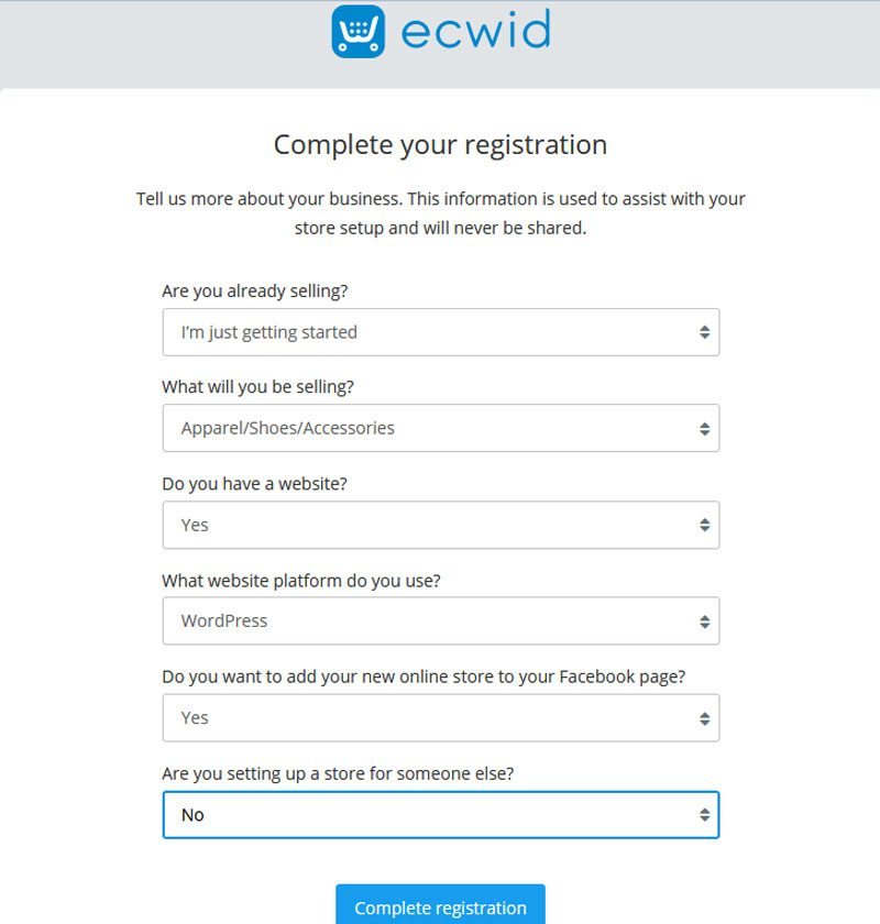 Set up an Ecwid online store on WordPress - register