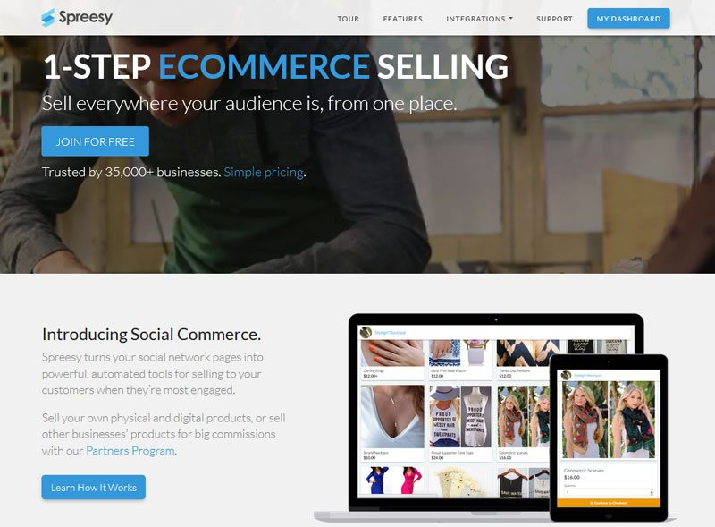 Top Shopify Competitors - Spreesy social selling free store