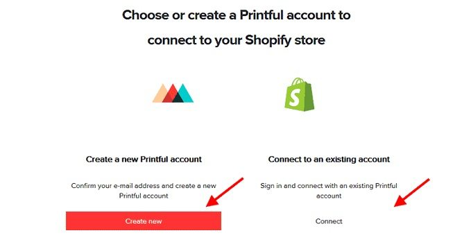 How to start a t-shirt business - create new Printful account on Shopify