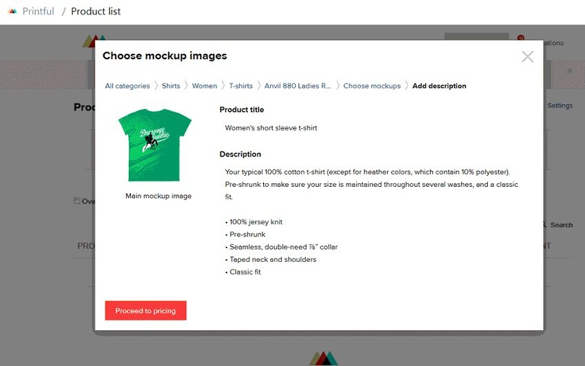 How to start a t-shirt business - create t-shirt listing in Printful