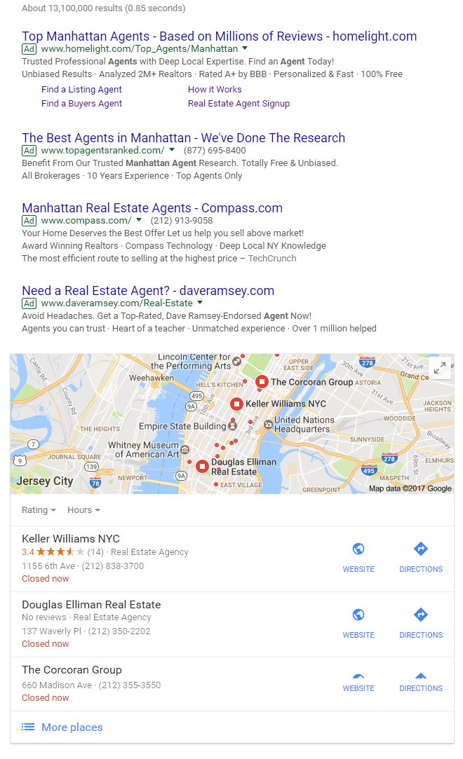 adwords-local-pack real estate SEO article