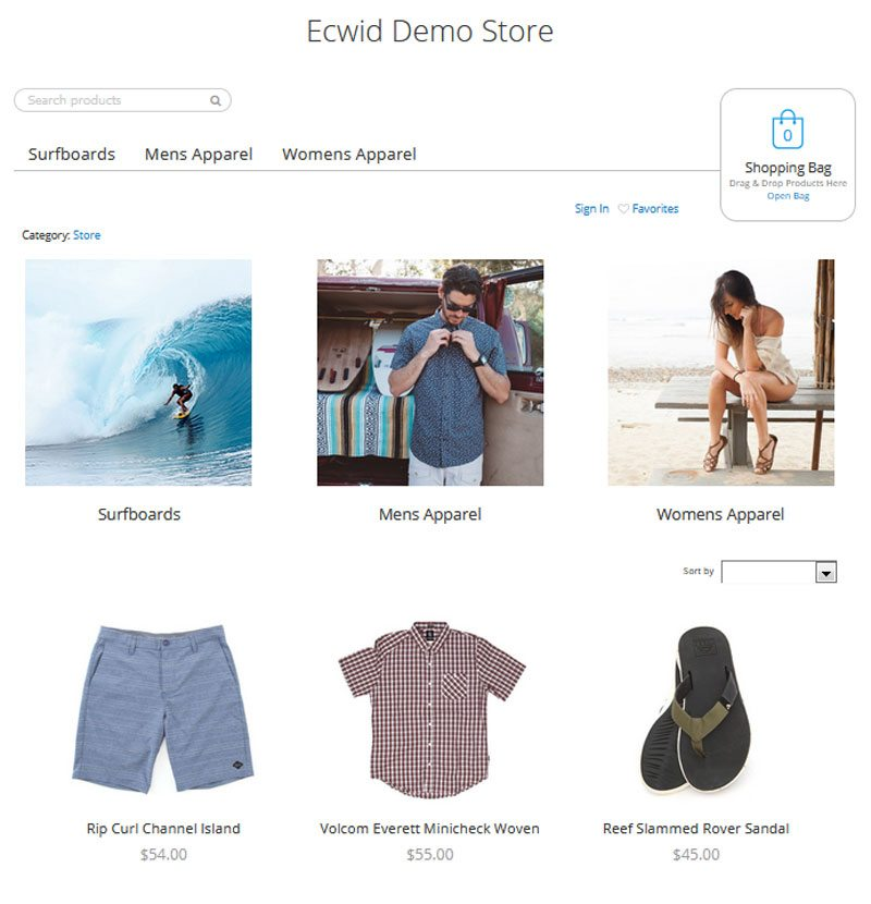 best free ecommerce website - Ecwid store