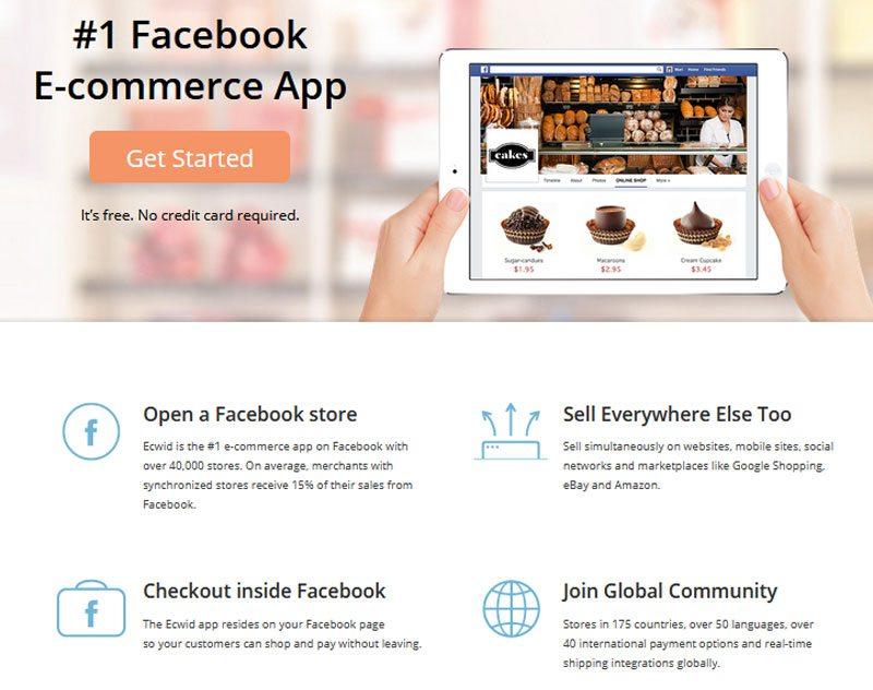 best free ecommerce website - Ecwid Facebook shop