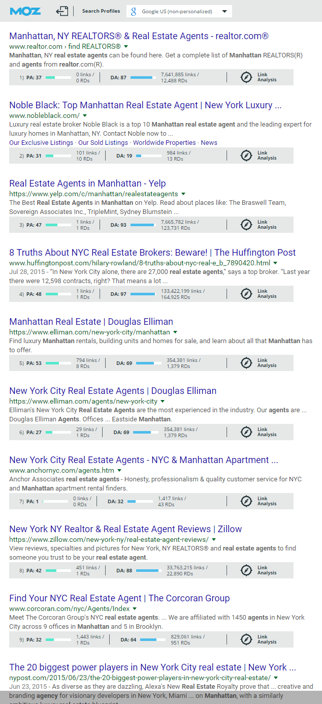 Real Estate SEO article SERP with Moz score