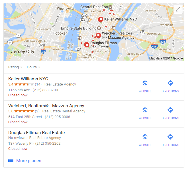 Real estate SEO article Local Pack screenshot