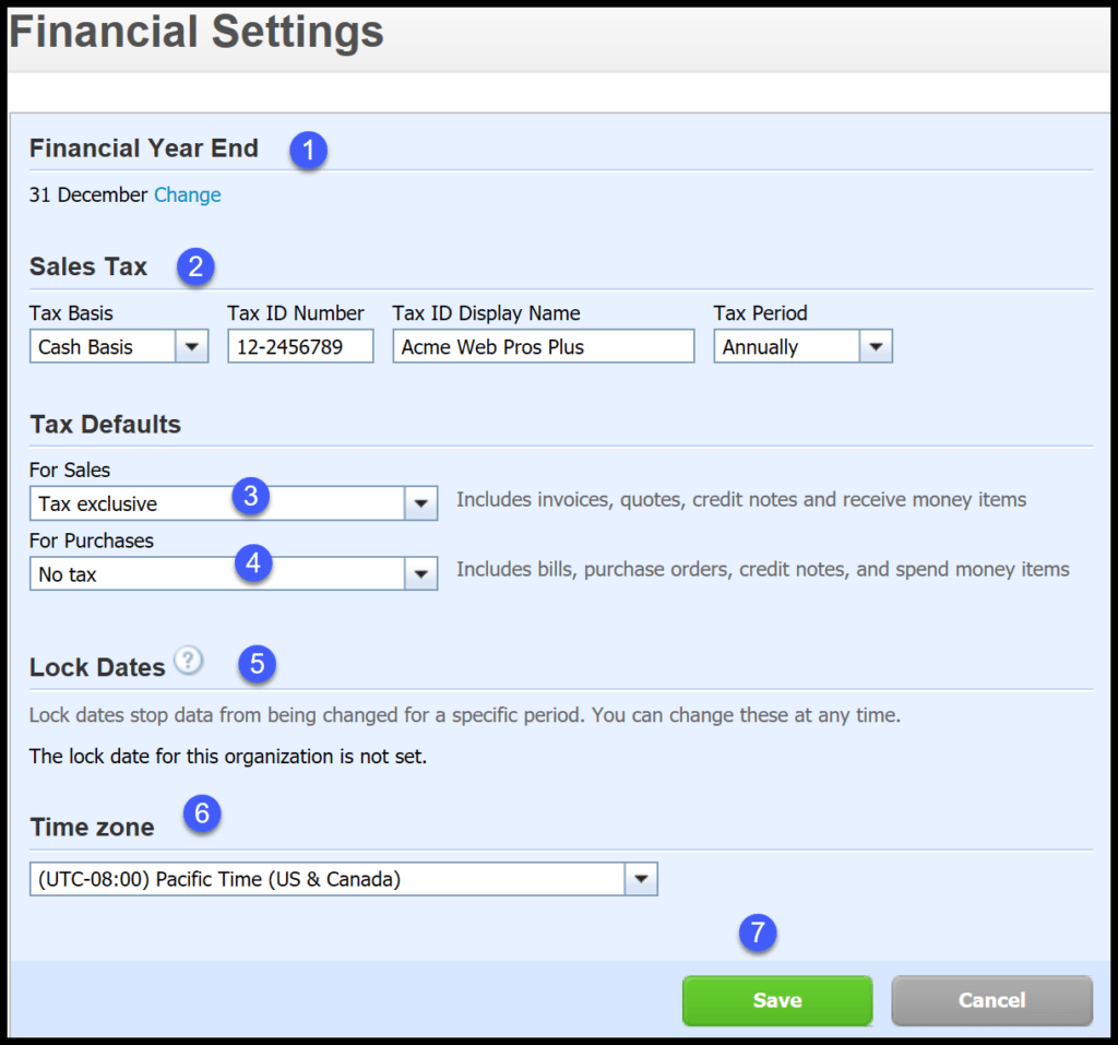 organization and financial settings in xero