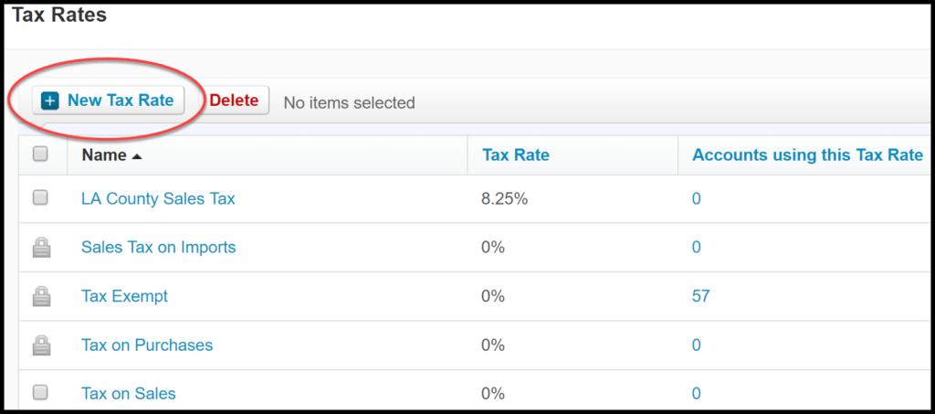 sales tax rates in xero