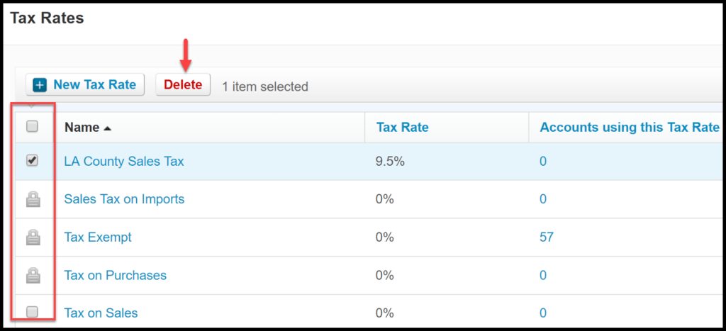 sales tax rates in xero