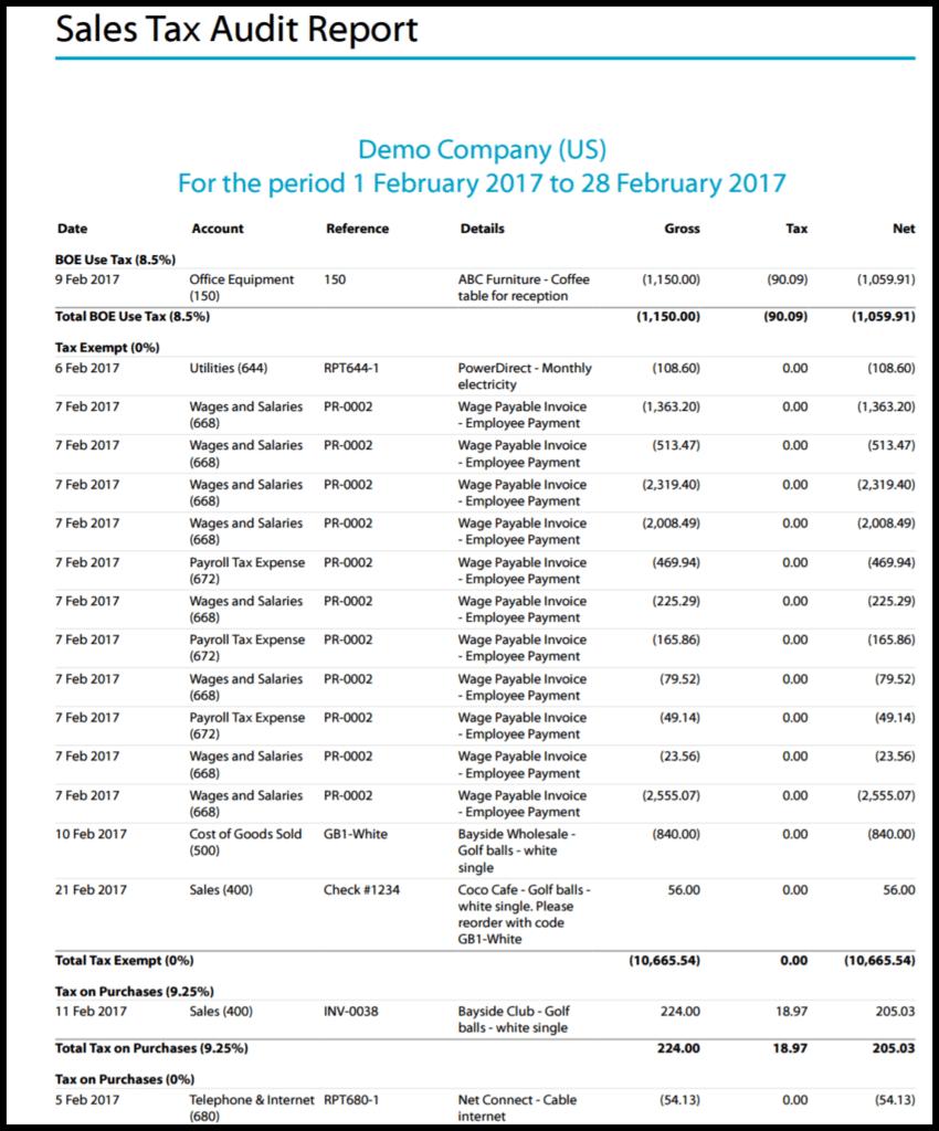 sales tax audit report in xero