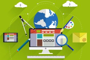 Illustration showing the tools used to build a website.