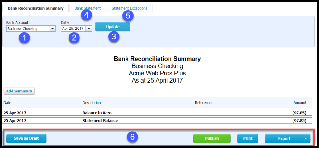 reconcile bank and credit card transactions in xero