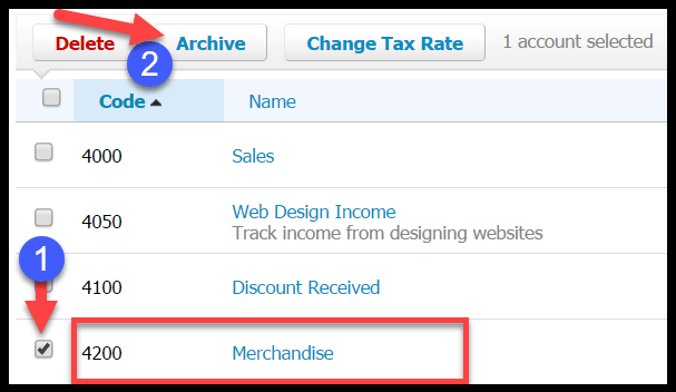 archive accounts in xero