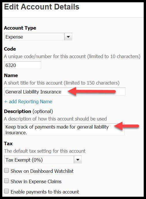 edit accounts in xero