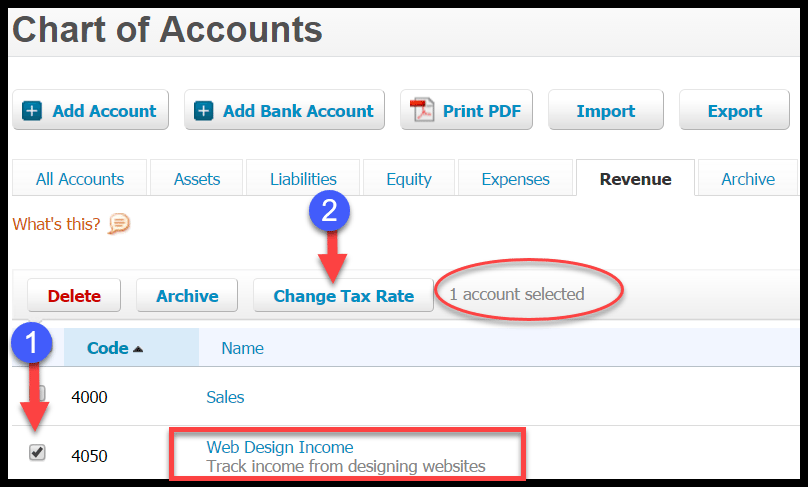 change sales tax rate for accounts in xero