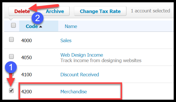 delete accounts in xero