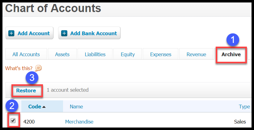restore accounts in xero