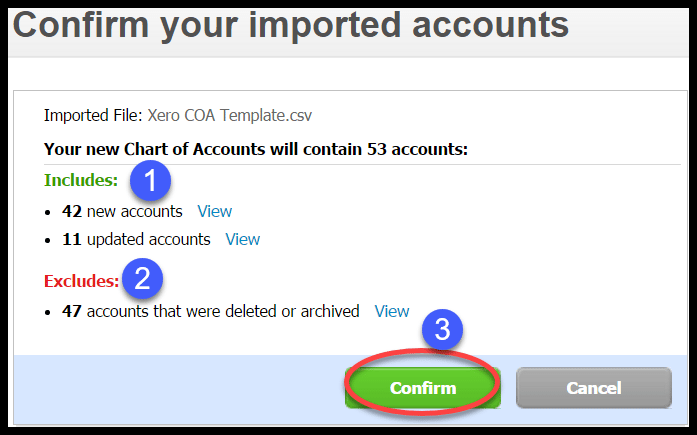 import chart of accounts xero